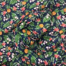 "Navy Hawaiian Pineapple Cotton Poplin Print Fabric 43"" width Sold by the Yard"