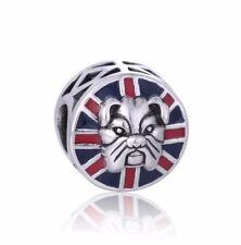 Bulldog Original S925 plata pulsera con dijes Europea Bead Fits Rosa