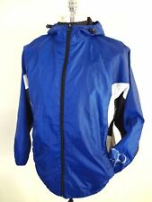 Vintage Op 90s Windbreaker Rain Jacket Size M Color Block Navy Blue Hood Mesh