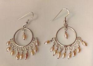 Sterling Silver And Pink Freshwater Pearl Chandelier Hoop Style  Earrings