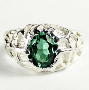 RUSSIAN NANO EMERALD Sterling Silver Men's Ring, Handmade • SR168