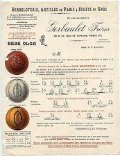 PAPIER PUBLICITAIRE BIMBELOTERIE / JOUETS EN GROS PARIS 3° / 1914