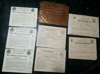 1943 War Ration Books #1. #3 . And #4 's with stamps (8 pieces)