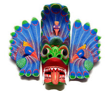 "Wooden Hand Carved Stunning Peacock Mask Sculpture 12"" Wall Hanging Home Decor"