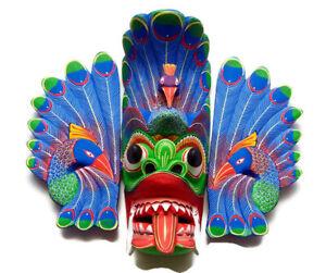 "Sri Lankan Handmade Stunning Traditional Peacock Wooden Mask 14"" (For Harmony)"