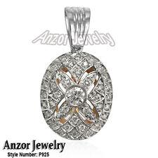 14k Rose & White Gold Genuine 1.0 Carats Diamonds Russian Style Pendant 585 P925