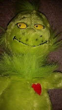 """Dr Seuss Kohl's care for Kids Plush Green Grinch 19"""" stuffed animal w/red heart"""