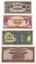 MALAYA SET 1 5 10 100 DOLLARS JAPANESE WWII 1942-1945 P-M5c M6c M7b M8a AU-UNC