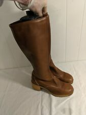 Vintage ZODIAC Leather CAMPUS Chunky Heel USA Made BOOTS Size 8 M FIT LIKE 7.5 N
