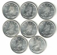 8 X CANADA TEN CENT DIMES ELIZABETH II .800 SILVER COINS 1955-1962 HIGH GRADE