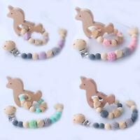 Unicorn Beech Baby Teething Bracelet Wood Silicone Beads Pacifier Chain Clip Set