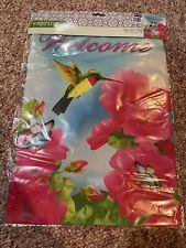 Nip Spring Summer Hummingbird Welcome w/ Flowers Small Mini Garden Flag 12�x18�