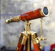 Beautiful Modern Nautical Brass Leather Telescope With Tripod Vintage Decorative