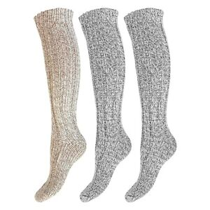 Ladies 3 Pairs Long Length Soft Wool Warm Thermal Boot Socks UK 4-7 - BEIGE MIX