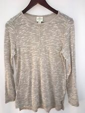 St Johns Bay Womens Sweater Thin Oatmeal Open Collar Small