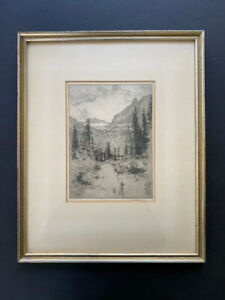 Original Etching by Lee Sturges, 1919, Western Mountains