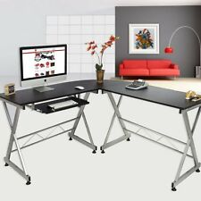 L-Shape Wood Computer Desk Corner PC Laptop Table Workstation Home Office Black