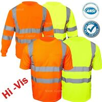 Hi Vis T Shirt Safety Work ANSI Class 3 Long Sleeve High Visibility Reflective