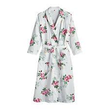 La Cera Women's Rose Print Flannel Robe - 3/4-Length Sleeve White Floral Kimono