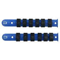 "2pc Socket Storage Holder Organiser Plastic Rails 1/2"" Drive Sockets 12 Clips"