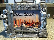 NEW YORK NY  PICTURE FRAME STATUE OF LIBERTY KING KONG PEWTER