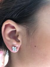 Cartier 18K White Gold Hindu Diamond Floral Earrings