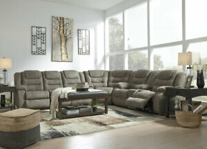 Living Room Furniture Couch Set - Gray Microfiber Reclining Sofa Sectional IF17
