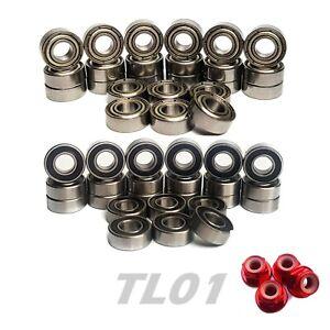 Bearings Set for TAMIYA TL01 TL01B COMPLETE 24 Rubber/Metal Seal Hop up Upgrade