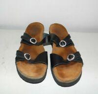 Naot Israel Black Leather Gem Sandals Size 40