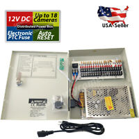 16Ch Power Supply Box CCTV Security Cameras 18 Port 12V DC Auto Reset & Key Lock