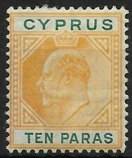 CYPRUS SG61b 1906 10pa YELLOW-ORANGE & GREEN HVY MTD MINT