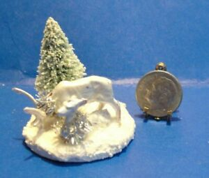 Dollhouse Christmas decoration centerpiece pearl white dears with tree #1