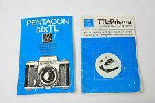 Pentacon Six TTL Prisma  Anleitung  Gebrauchsanleitung Zubehör DDR
