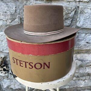 Stetson 4X XXXX Beige Beaver Felt Men's Cowboy Western Hat Size 7 1/8 VTG Box