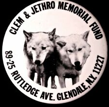 SAVE THE WOLVES - CLEM & JETHRO  BUTTON - 1989  - ORIGINAL PINBACK SCARCE