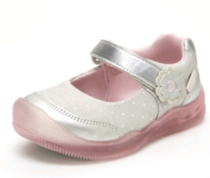 Surprize by Stride Rite Girls Toddler Silver Polka Dot LightUp Mary Jane Sneaker