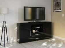 Birlea - Edgeware Range Black High Gloss 2 Drawer 2 Door TV Unit Stand Cabinet