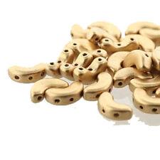 Lt Gold Matte Arcos® Par Puca® Cresent Moon 3-hole 30 Czech Glass Beads