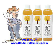 3 BOTTLES STOP LEG AND FOOT CRAMPS PAIN IN A MINUTE NEW FACTORY SEALED OLD AMISH
