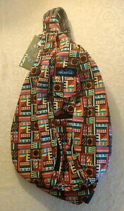 NWT KAVU Rope Sling Bag Backpack Travel Student Bookbag College School Geometry