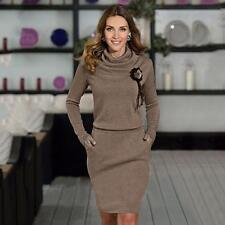 Fashion Women Winter Warm Dress Long Sleeve O-Neck Cotton Bodycon Mini Dress