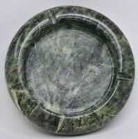 "Vintage 70s or 80s Pier 1 Green Marble Stone Ashtray Heavy 6"" Round Ashtray"