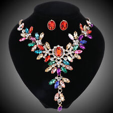 Colorful Crystal Bridal Jewelry Set For Wedding Party Brides Necklaces Earrings