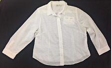 Liz Claiborne NY Womens Shirt Plus Size 20W White Button Down Career Blouse Top
