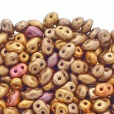 2.5x5mm Czech Glass Super Duo Beads - Bronze Rainbow B - 10g