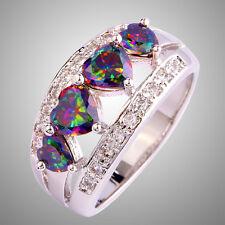 Heart Cut Rainbow & White Topaz Gemstones Silver Ring Wedding Jewelry Size 6 -12