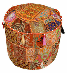 100% Cotton Indian Floor Ottoman Pouffe Vintage Embroidered Patchwork Pouffe