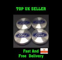 TOP QUALITY! Silver Ford Fits Most Models 54mm Alloy Wheel Centre Caps 'X4' Caps