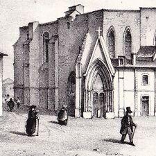 Lithographie Prieuré Saint-Pierre La Réole Saint Benoit Bénédictin Gironde 1835
