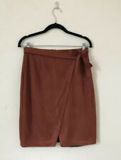 River Island Women Skirt Size 10 Faux Suede Faux Wrap Knee Length Red Tie